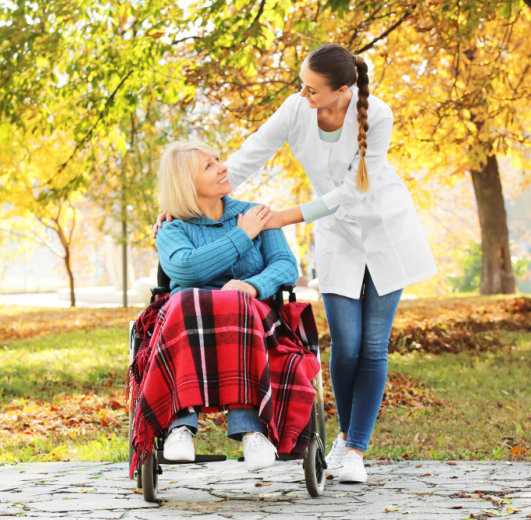 woman on a wheelchair and nurse