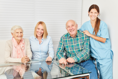 happy family with a caregiver
